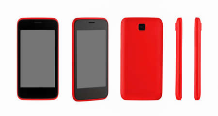 mobile phone in red on a white background, an overview from different angles