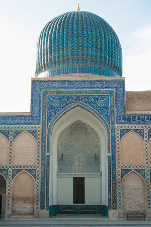 Tamerlane의 무덤의 돔의 근접 촬영. 중앙 아시아의 고대 건축