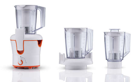 set of blender with container on white background with reflection. kitchen appliances Imagens