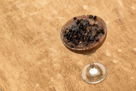 Chocolate smoothie on a light brown background Reklamní fotografie