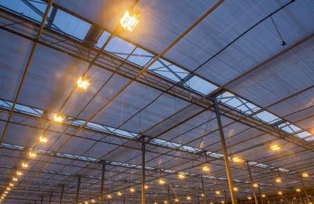 le toit de la serre avec un équipement d'éclairage brûlant, les heures du soir