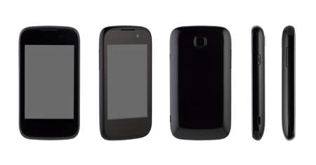 With different sides of a mobile phone on a white background. for copy space and cut out