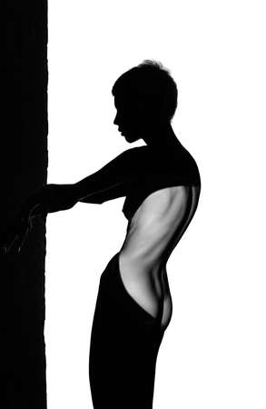 silhouette of a naked woman standing sideways on a white background, monochrome