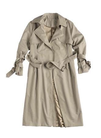 classic female raincoat on a white background