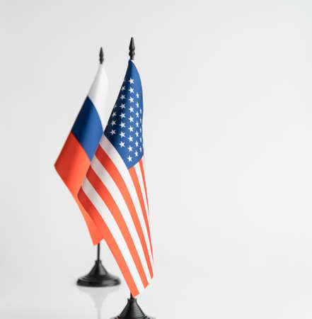 The flags of the USA and Russia on a white background isolated. The concept of policy