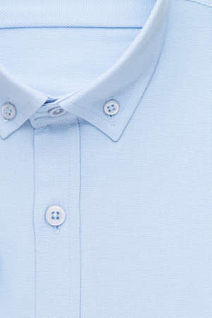 blue shirt, detailed close-up collar and button, top view