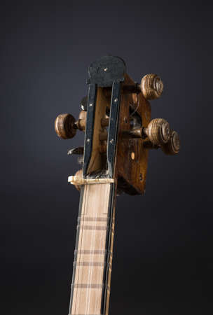 ancient Asian stringed musical instrument on black background with backlight. tuning peg