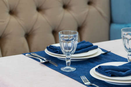 serving banquet table in a luxurious restaurant in blue and light style Reklamní fotografie