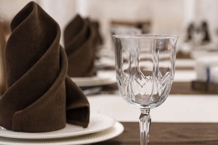 serving banquet table in a luxurious restaurant in brown and white style, macro shooting