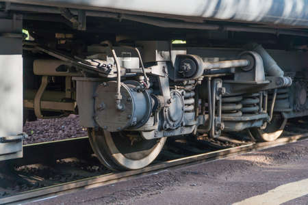 close - up of the train wheel on the railway Reklamní fotografie