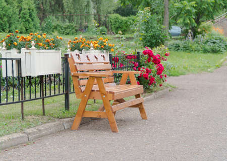 wooden bench in the Park by the path
