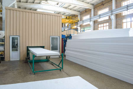 Production of thermal insulation materials. Plant for the production of sandwich panels from styrofoam