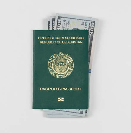 Uzbekistan passport with american dollars on white background, isolated. Top view Foto de archivo