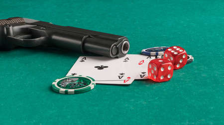 Poker chips, cards and gun on a green background. The concept of gambling and entertainment. Casino and poker Foto de archivo - 138288308