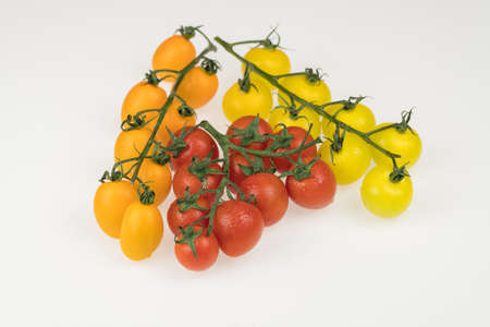 fresh red, yellow and orange cherry tomatoes on a white background. wet tomatoes