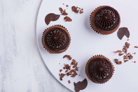 chocolate cupcake on white plate, top view, close-up