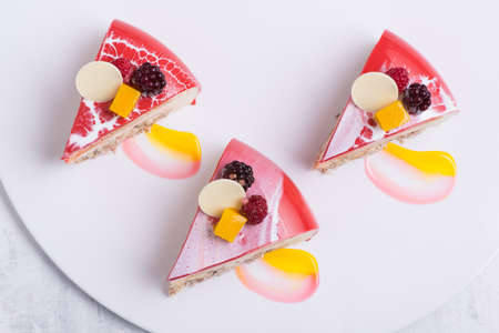 delicious strawberry cake on a white plate