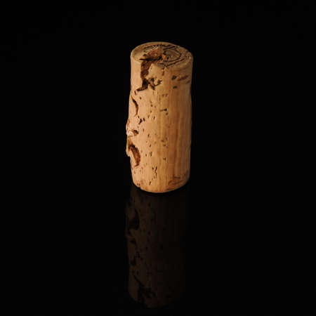 One old wine cork on black background with reflection Stockfoto