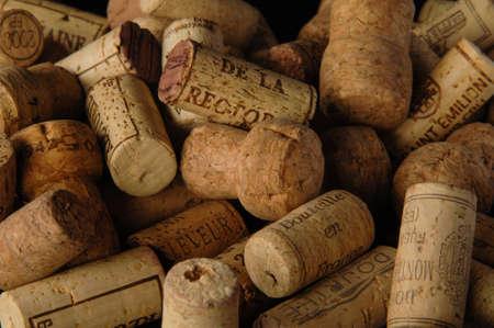 Tashkent, Uzbekistan - October 6, 2009: Heap of old vintage wine corks. Studio photography