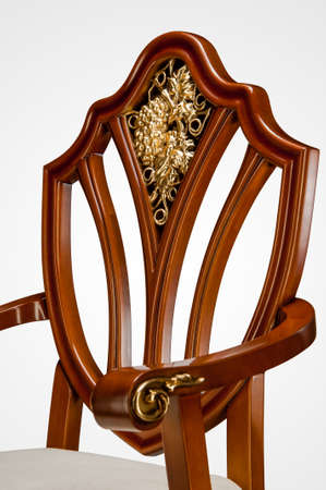 Luxury gold plated kitchen chair in baroque style 免版税图像 - 158296748
