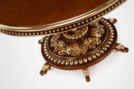 Luxury gold plated part kitchen table in baroque style. Close-up Stok Fotoğraf - 158349687