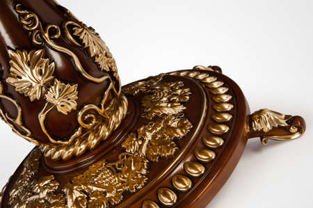 Luxury gold plated leg kitchen table in baroque style. Close-up Stok Fotoğraf - 158349060