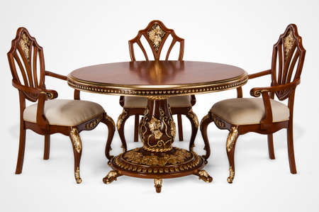 Luxury gold plated kitchen table and chairs in baroque style. Cut out, copy space Stok Fotoğraf - 158349490
