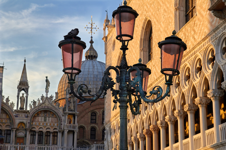 st mark's square: The evening view of Saint Mark Cathedral at the Piazza San Marco. St Marks Square, Venice, Italy Editorial