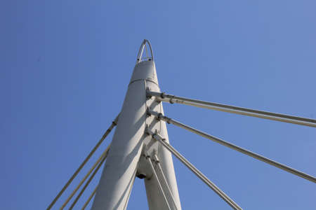 Detail of cable-stayed bridge on new highway A31 in north of Italy .