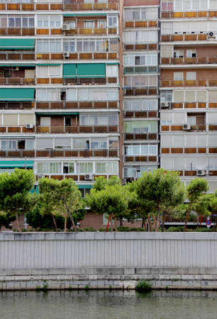 precast: Old building facade in south district of Madrid, Spain