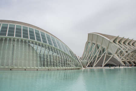 futuristic city: Hemisferic, a planetary in the City of Arts and Science, Valencia, Spain. Editorial