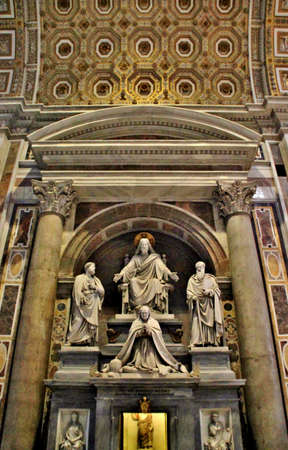 st  peter's basilica pope: St. Peters Basilica, St. Peters Square, Vatican City, Indoor interior.