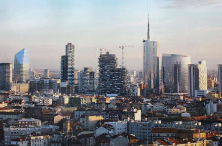 Milan Italy, aeral view of new business disctict of Porta Genova and Gae aulenti sqare Editorial