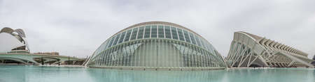 Panorama of Hemisferic, a planetary in the City of Arts and Science, Valencia, Spain. Editorial