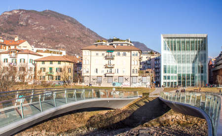 pedestrian bridge: 27 january 2017: Pedestrian Bridge and Facade of MUSEION, the Museum of Modern and Contemporary Art of Bozen, South Tyrol, Italy