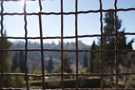 View of a fence with blurred background