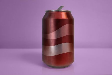 Aluminum Red Soda Can over Purple Background Banco de Imagens