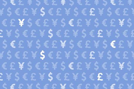 Blue Dollar Euro Yen Pound Currencies Pattern Background