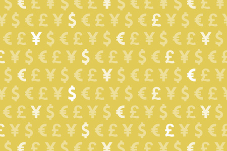 Yellow Dollar Euro Yen Pound Currencies Pattern Background Stock Photo