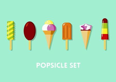 Ice Cream Flat Icons Set on Green Background Stock Photo