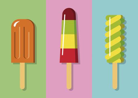 Three Color Popsicle Flat Illustration Set 2