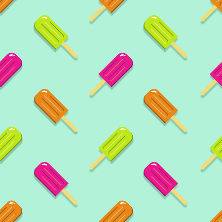 Lime, Orange & Strawberry Popsicles on Green Background Pattern