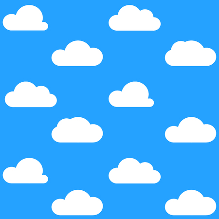 Flat White Clouds on Blue Sky Background Pattern Stock Photo