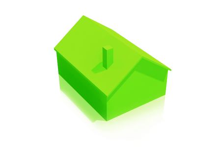 Small Plastic Green House Icon on White Background Stock Photo