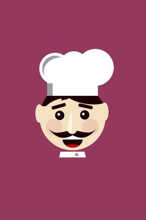 patisserie: Smiling Chef on Maroon Background Flat Icon Illustration Stock Photo