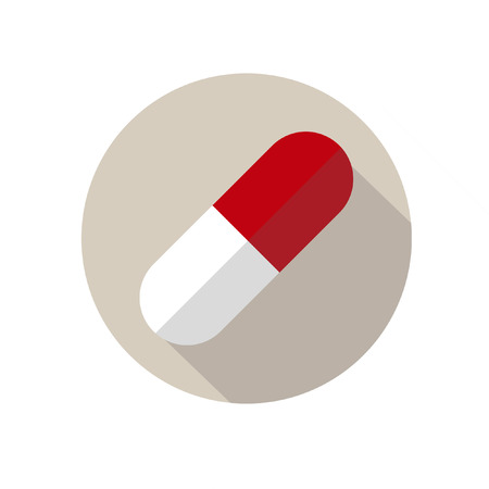 medical doctors: Capsule Pill Round Flat Medical Icon Illustration