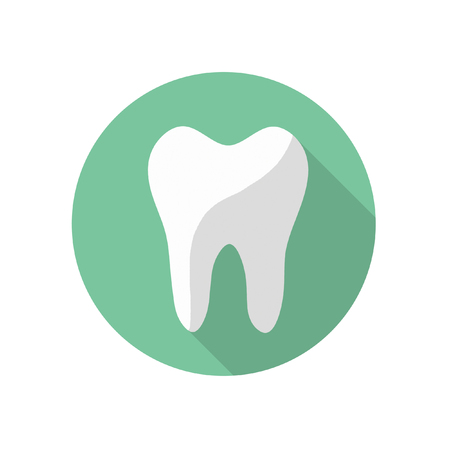 Tooth Round Flat Medical Icon Illustration