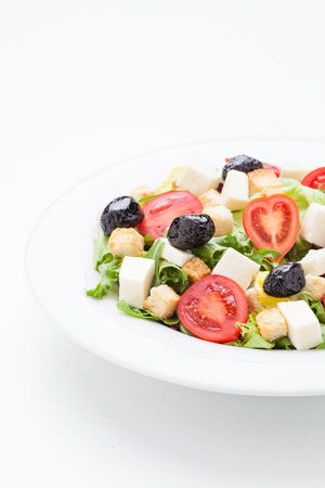 fresh vegetable salad on plate photo