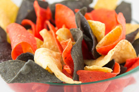 Mexican style corn chips in red, white and purple color