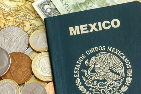 Passport of the Estados Unidos Mexicanos  United Mexican States , with world currency over a map of America photo
